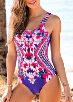 Cheap One-Piece Swimsuits Wide Strap Printed Open Back One Piece Swimwear Monokini Swimsuits, Bikini Swimwear, Sexy Bikini, Cheap One Piece Swimsuits, One Piece Swimwear, Sports Nautiques, Trendy Swimwear, Bra Styles, Rockabilly