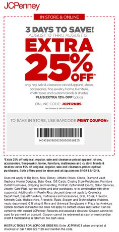 Pinned August 10th: Extra 25% off at #JCPenney, or online via promo code JCPFRNDS #coupon via The #Coupons App