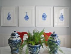 Blue and White Floral Chinoiserie Vase Giclee by The PinkPagoda contemporary artwork Blue And White China, Love Blue, Red And White, Color Blue, Interior Design Books, Interior Ideas, Interior Styling, Blue Rooms, White Rooms
