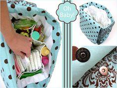 Diaper Bag Tutorials, Diaper Bag Patterns, Bag Patterns To Sew, Sewing Patterns, Baby Diaper Bags, Nappy Bags, Diy Nappy Bag, Diaper Babies, Diy Diapers