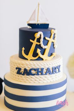 3-layer cake from Nautical Themed 100th Day Party at Kara's Party Ideas. See all 28 pictures at karaspartyideas.com!