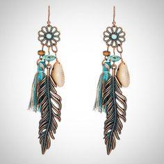 Prettie Feather Earrings for Women Bohemian Dangle Earrings Girls Punk Vintage Native American Indian Jewelry Tassel Boho Ethnic Earrings Feather Beads Drop Women Gifts