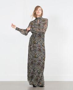Image 1 of PRINTED LONG SLEEVE MAXI DRESS from Zara