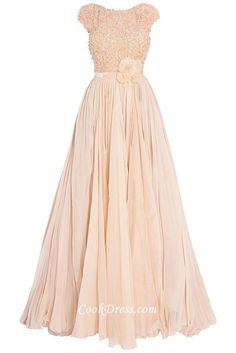 Floral bodice and chiffon skirt peach long princess ball dress, luxury beaded lace embroidery stretch to boat neckline and cap sleeves, delicate sequined flowers are  adorned at waist, layered waterfall chiffon draped.