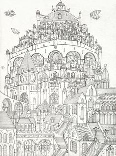 FLYING CITY Colouring Page FREE Edupics