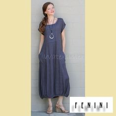 FENINI USA Linen Long A-Line LONG DRESS Banded Balloon Hem S M L XL XXL COAL #FENINIUSA #Versatile #Casual