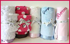 an assortment of personalized blankets from myubby. www.myubby.com