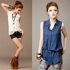 Sleeveless Shirt Chic Tank Top Blouse with a Belt
