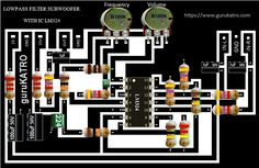 LowPass Filter Subwoofer with IC Simple Circuit, Electronic Schematics, Audio Amplifier, Sound Effects, Filters, Frame, Bass, Diy, Circuits