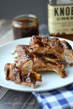 These Bourbon and Brown Sugar Barbecue Ribs are sweet, and tangy with an occasional kick that kind of sneaks up on you! Barbecue Ribs, Barbecue Sauce, Bbq Sauces, Carne Asada, Pork Recipes, Cooking Recipes, Cooking Tips, Grilling Recipes, Sauce Recipes