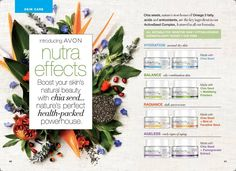 Are you aware of Avon's newest line of skin care products? #Nutraeffects is for all skin types, hypoallergenic, gluten free and dye free. Boost your skins natural beauty with chia seeds and healthy antioxidants. Which color is right for you? Blue, Green, Yellow or Purple? If you're not sure, ask me and I'll help you determine your skin type!   www.youravon.com/lmonoson