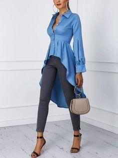 Blusas cola de pato · manga linterna botón diseño dip hem blusa (s/m/l/xl) Trendy Fashion, Womens Fashion, Fashion Trends, Ladies Fashion, Fashion Fashion, Feminine Fashion, Fashion Styles, Mode Outfits, Office Outfits