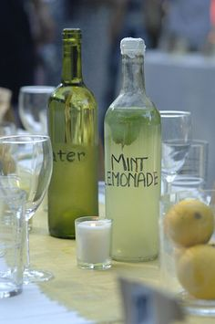 Ask a local wine retailer to save old bottles (leftover from their weekly wine tastings and totally f-r-e-e). They used all the green bottles to hold water, brown bottles for sweet tea and clear ones for homemade mint lemonade.