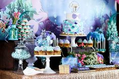 Looking for unique birthday party ideas? Kara's Party Ideas has a unique under the sea birthday party with loads of great elements! Mermaid Baby Shower Decorations, Mermaid Baby Showers, Baby Mermaid, Baby Shower Themes, Shower Ideas, Mermaid Fin, Birthday Party Desserts, Girl Birthday Themes, First Birthday Parties