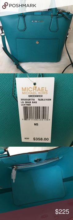 "Michael Kors Large Greenwhich Bag Michael Kors Large Greenwhich Grab Bag. Brand new with tags attached. Perfect bag to fit all your goodies! In sold out color ""Tile Blue/Aquamarine"" it is perfect and retails for $358 plus tax. Perfect gift for the Holidays🎁🛍🎀 Michael Kors Bags Satchels"