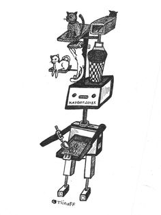 Katbot 2018 for the Giant Kitty Saves the Day Mail Art Call in the US http://www.tiinafromfinland.com/mail-art/katbot/ #mailart #drawings