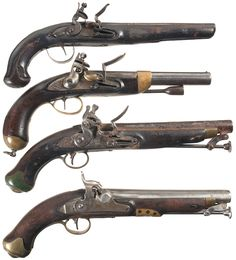 Old Flintlock Pistols | Four Antique Pistols -A) Engraved Flintlock Pistol