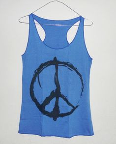 e164ed98039e7 Peace Tank top size XS blue shirt women by BlackTeenFashion