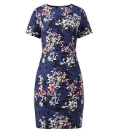 Dark Blue Floral Print Pencil Dress