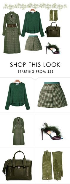 """green sheen sweater"" by diana-kulieva ❤ liked on Polyvore featuring Delpozo, Fendi, 3.1 Phillip Lim, Want Les Essentiels de la Vie and Alexander McQueen"