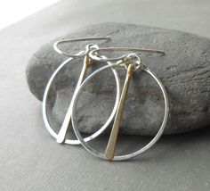 Minimal Silver and Gold Hoop Earrings Sterling by DianeMabrey