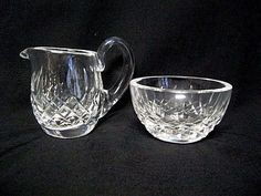 WATERFORD Crystal LISMORE Mini Miniature  Cream Sugar Bowl Vintage marked  #Waterford