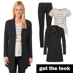 Übergangsmantel, Shirt mit Fahrrad-Print und Slim Fit Jeans von zero #zerofashion #getthelook