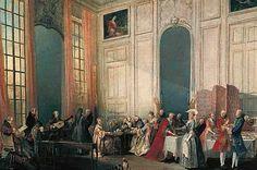 Le Thé à l'anglaise dans le salon des Quatre-Glaces au Temple, avec toute la cour du prince de Conti écoutant le jeune Mozart. Toile de Michel Barthélemy Ollivier présentée au Salon de 1777 (Musée du Louvre, Paris)