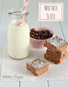 Easy Weetbix Slice Recipe - A Spoonful of Sugar Baking Recipes, Cookie Recipes, Dessert Recipes, Chocolate Weetbix Slice, Slice Recipe, Recipe Filing, Healthy Treats, Healthy Recipes, Sweet Recipes