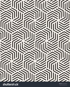 Vector seamless pattern with chevron. Modern stylish monochrome texture. Repeating abstract background with twisted polygonal elements. Black and white geometric tiles