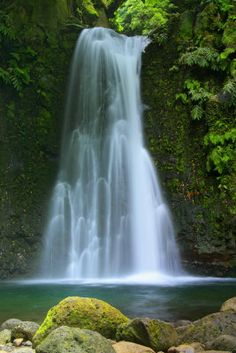 Waterfall. Azores Islands.