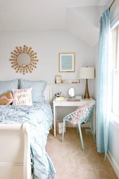 With the addition of a gold lamp, pretty mirrored storage boxes and makeup organizers, inspirational art and a whimsical gold removable decal wall clo. Blue And Gold Bedroom, Gold Rooms, Blue Rooms, Turquoise Teen Bedroom, Room Ideas Bedroom, Bedroom Decor, Bedroom Ideas For Tweens, Girls Bedroom Colors, Bedroom Girls