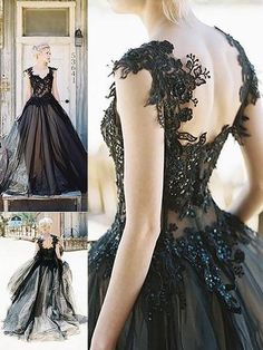 Black Applique Tulle Elegant Cheap Evening Long Prom Dress Ball Gown, The dress is fully lined, 4 bones in the bodice, chest pad in the bust, lace up back or zipper back are all available. Prom Dresses 2017, Tulle Prom Dress, Black Wedding Dresses, Prom Party Dresses, Ball Dresses, Tulle Lace, Long Dresses, Dresses Dresses, Wedding Black