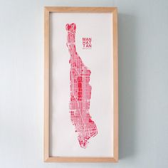 "9"" x 19"" silk-screen printed map of NYC. Inspired by Yvonne's urban planning background and her love of maps. Frame not included. Printed in San Francisco."