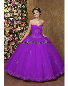 Royal purple wedding gown.