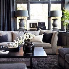 MONOCHROME ✔️ Via @pinterest #livingroom #orchids #lamps #homestyling #homeinspo #vogueliving #homewares #wallpanels #greenery #Padgram