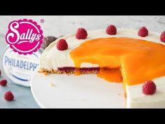 Eine Kühlschranktorte deluxe ist dieser NO Bake Philadelphia Kuchen mit der Himbeerfruchteinlage, der cremigen Philadelphia Creme und dem Maracujaguss.