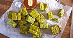 Green chile and tomatillo corn bread. A cheesy, spicy and vibrant green version of the Southern classic.