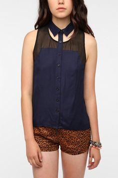 Staring at Stars Cutaway Collar Sleeveless Shirt  #UrbanOutfitters