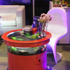 Round Table Aquarium. This simple yet efficient design creates very clean and well aerated water causing your fish to thrive in a clean, and easy to maintain environment. As a bonus the sump allows placement of the included heater, and water pump, allowing your aquarium to remain uncluttered. Amazing Aquariums, Glass Aquarium, Sump, Environment, Cleaning, Fish, Create, Water, Table