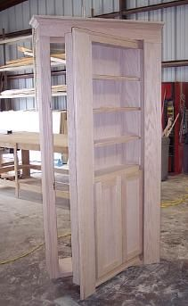 Construction of a secret door that will open into a hidden room