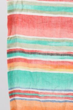 Ultra light weight, printed stripe in salmon, lemon, mint, pink, light blue, and chocolate