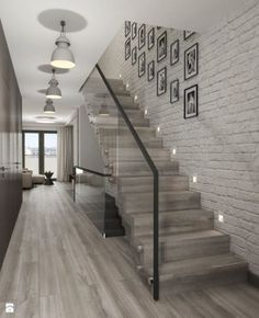 68 Inspirational Photos Of Modern Stairs Design Indoor Home Stairs Design, Home Interior Design, Stair Design, Modern Stairs Design, Interior Stairs, Glass Stairs, Stairs Window, Tile Stairs, Brick Wallpaper On Stairs