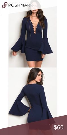 Chain laced bodycon dress Sexy and sophisticated chain laced bodycon navy blue party dress. Gold detail. Thick, stretchy material 95% polyester 5% spandex. Dresses Mini