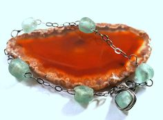 beautiful! sea foam recycled glass and oxidized sterling by jeweledtriton, $48.00
