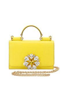 Miss Sicily Medium Lizard-Stamped Satchel Bag, Yellow by Dolce & Gabbana at Neiman Marcus.