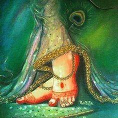 Lotus feet of Radha Rani Lord Krishna Wallpapers, Radha Krishna Wallpaper, Lord Krishna Images, Radha Krishna Pictures, Radha Krishna Photo, Krishna Art, Radhe Krishna, Cute Krishna, Indian Women Painting