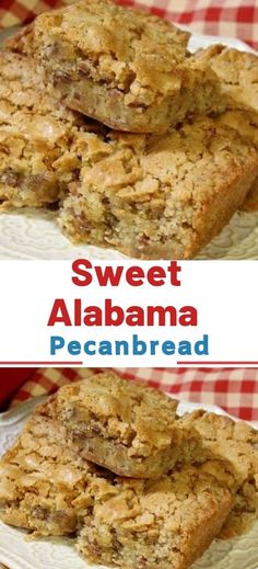 Alabama Pecanbread Is it a cake? Is it a cookie? However you look at it, Amy Borne's Sweet Alabama Pecan Bread is delicious. With the perfect amount of sweetness, these treats are great alongside your morning coffee or as a scrumptious ending to a meal. Pecan Recipes, Gourmet Recipes, Sweet Recipes, Cookie Recipes, Bread Recipes, Pecan Bread Recipe, Fun Desserts, Delicious Desserts, Dessert Recipes