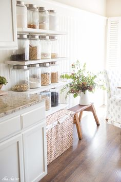 Love the open shelving with farmhouse flair!