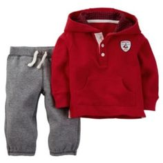 """Baby Boy Carter's """"North Pole Champs"""" Henley Hoodie & Knit Pants Set"""